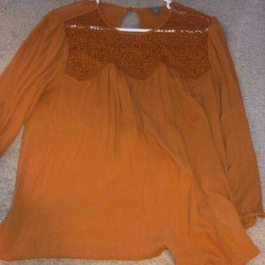 orange lace blouse